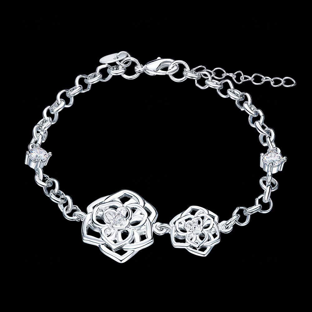 Beautiful and Delicate Bracelet European and American Fashion Accessories, Rose Silver Bracelet, Silver