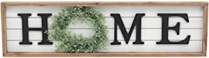 Large Natural Wood Framed Home Sign with Green PVC Wreath, Black 3D Home Letters, Modern Farmhouse Home Plaque Wall Decor, Housewarming Home Decor for Mantle Living Room, 31-1/2 x 1-1/4 x 8-3/4 Inches