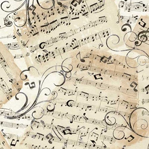 Music Fabric - Timeless Treasures Fabrics Natural Music Novelty Music Sheets