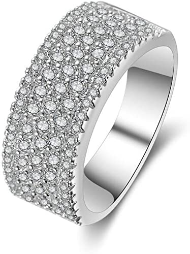 14k White Gold Sterling Silver Box Cluster Cubic Zirconia Ring Sizes 6 7 8 9