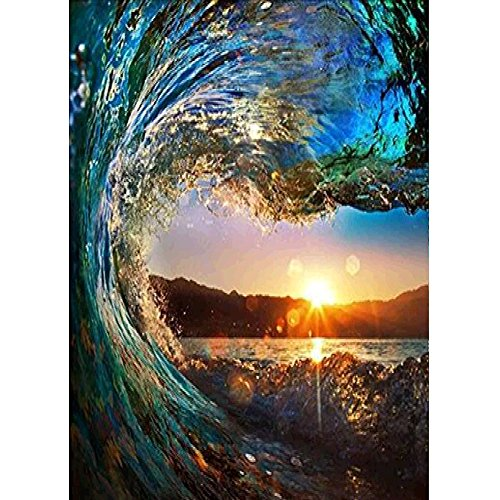 Diamond Wave Beads - Wizland 5D DIY Diamond Painting Full Drill Round Resin Beads Pictures Waves and Sunset Tools Kits ,Arts, Crafts & Sewing Cross Stitch for Home Decor