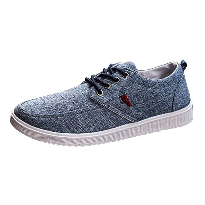 Zapatillas de Running Hombre,ZARLLE Zapatos Planos de Lona con Cordones Planos de Hombres Zapatos cómodos Ocasionales Correr al Asfalto Deporte Sneakers ...
