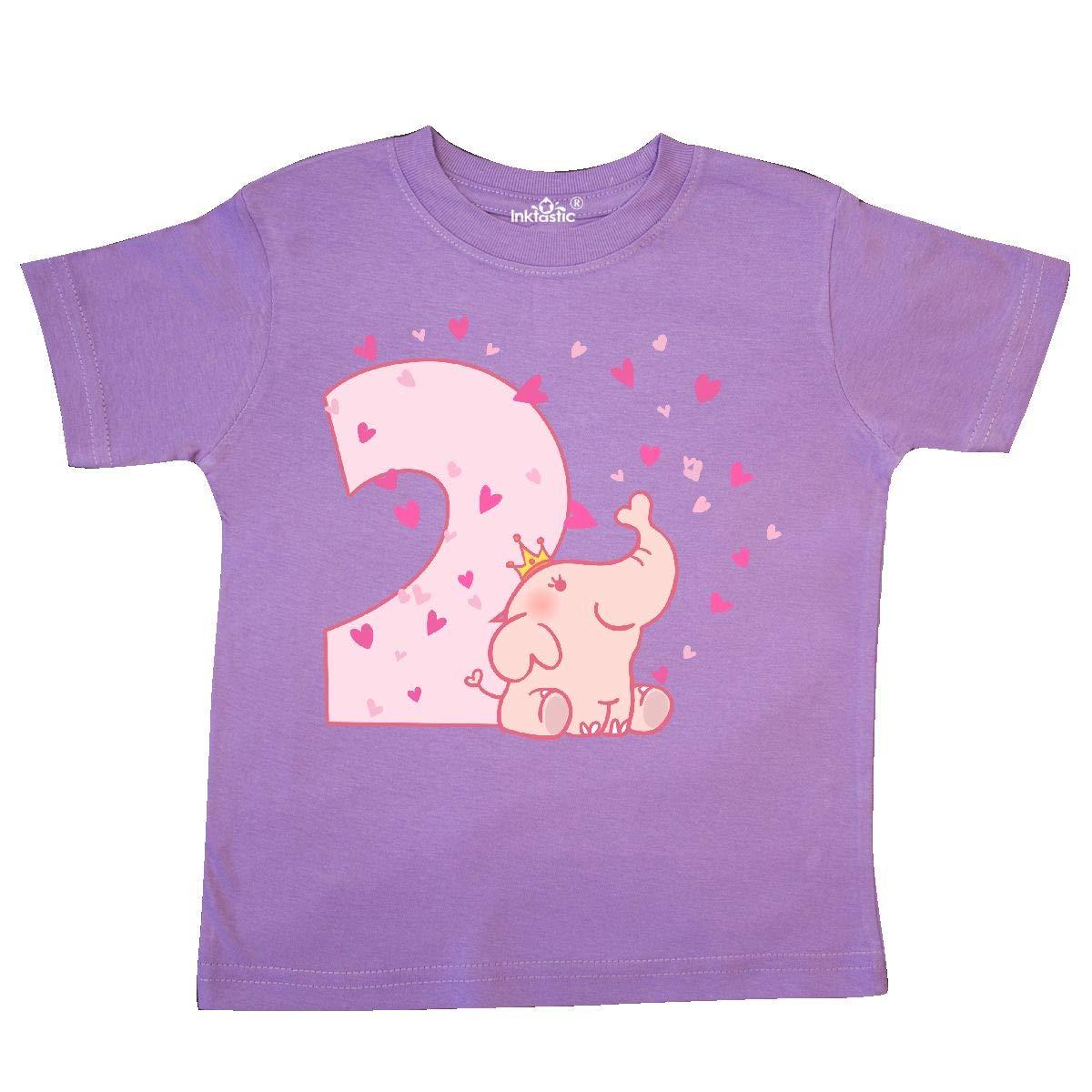 inktastic Pink Elephant 2nd Birthday Toddler T-Shirt