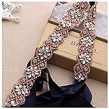 Yanstar Navy Belt Bridal Sashes In Rose Gold Crystal Rhinestones For Wedding Gowns …