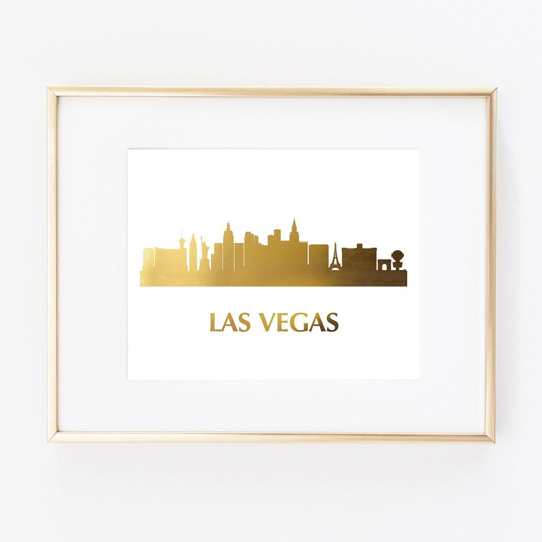 Amazon Com Las Vegas Gold Foil Wall Art Print Skyline City Nevada
