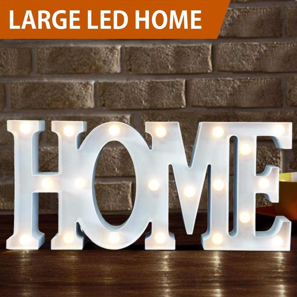 """Bright Zeal 16"""" Large Home LED Letter Marquee Sign (White, 6hr Timer) - Decorative Signs for Kitchen Home Letters Wall Decor - Letter Marquee Light Battery Operated - Xmas Decorations"""