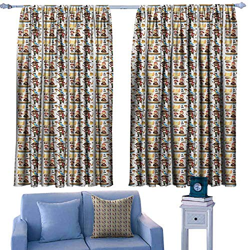 GAAGS Rod Pocket Window Curtain Panel,Pirates Funny Piracy Themed Cartoon Pattern for Kids with Various Objects and Characters,Great for Living Rooms & Bedrooms,W63x45L Inches Multicolor
