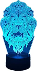 Lion Face Night Light 7 Color Changing Animal LED Night Lights 3D LED Desk Table Lamp as Home Decoration