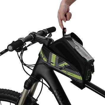 ROCKBROS Bolsa de Bicicleta Cuadro Impermeable para Manillar Tubo Superior Delantero Soporte del Teléfono Móvil con Pantalla Táctil 5,8 y 6,0: Amazon.es: Deportes y aire libre