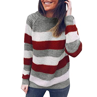 Chandail Femme Hiver Chic, Koly Sweater Manteau en Tricot à Rayures Manche  Longue Pull Femme 9da1064aa48