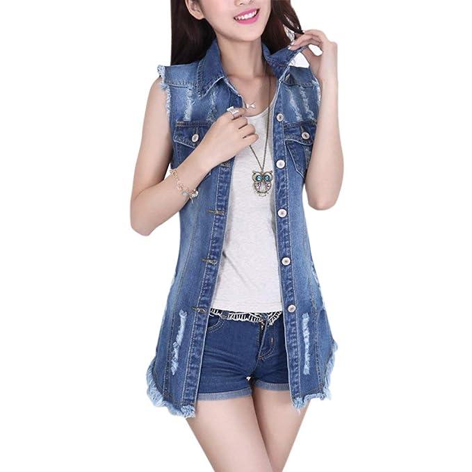 0121813d25 Gilet Jeans Donna Vintage Strappato Denim Cavo Eleganti Moda Gilet ...