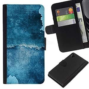 Planetar® Modelo colorido cuero carpeta tirón caso cubierta piel Holster Funda protección Para SONY Xperia Z2 / D6502 / L50 D6502 ( Abstract Blue Grunge )