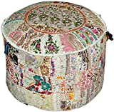 Vintage Ottoman Pouf Cover ,Patchwork Ottoman, Living Room Foot Stool Cover,Decorative Handmade Chair Cover 18x13 Inch.