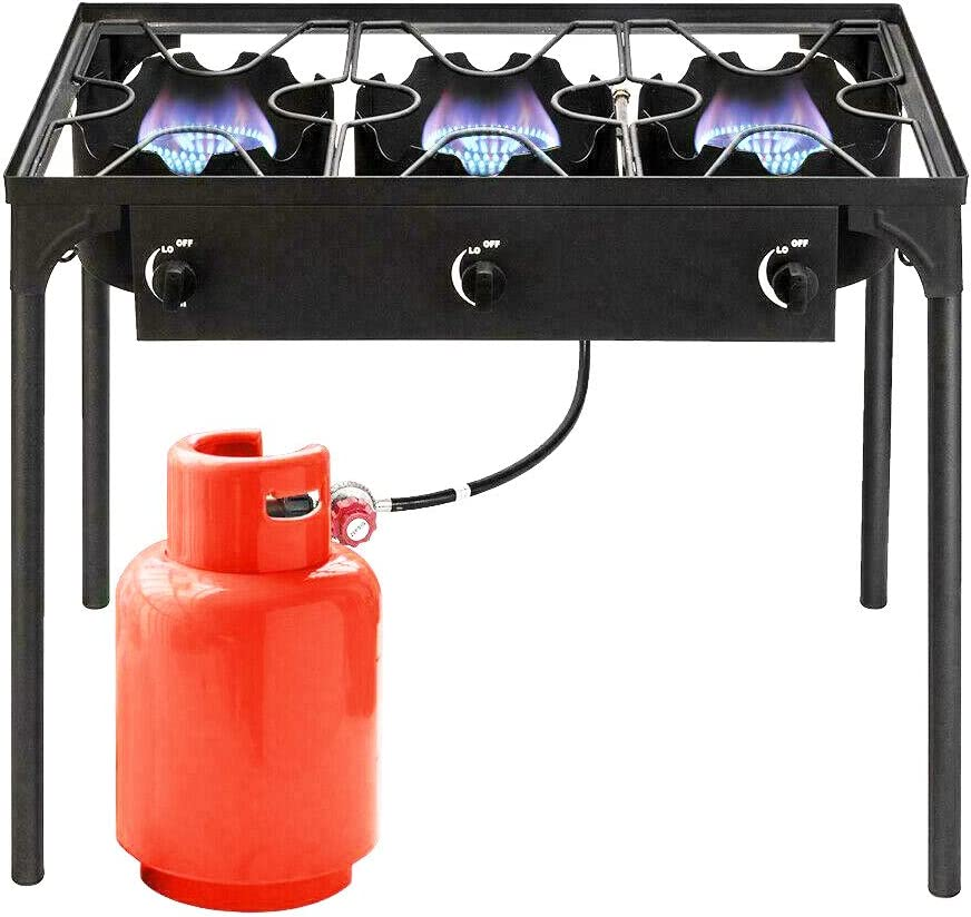 GVOS Outdoor 3-Burner Stove - Portable Cast Iron Propane Gas Cooker 225,000-BTU with Removable Legs for Outdoor Cooking, Parties, Camping, BBQ, Picnic