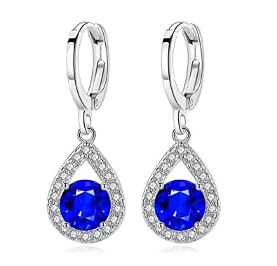 6e643809f HaoChen & Korean new sterling silver tassel earrings horse eye blue crystal  earrings (Blue)