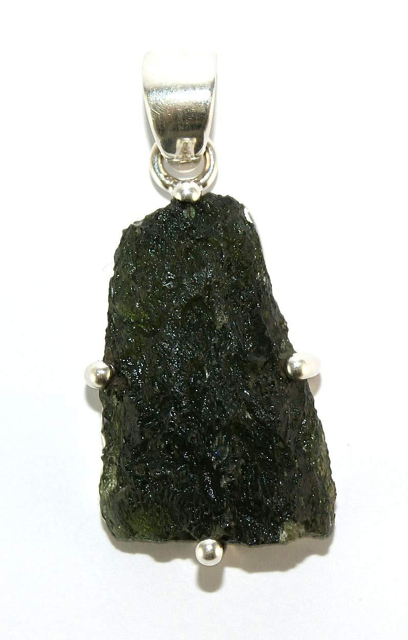 Moldavite Sterling Silver Pendant Raw Natural Crystal MOLDP1813