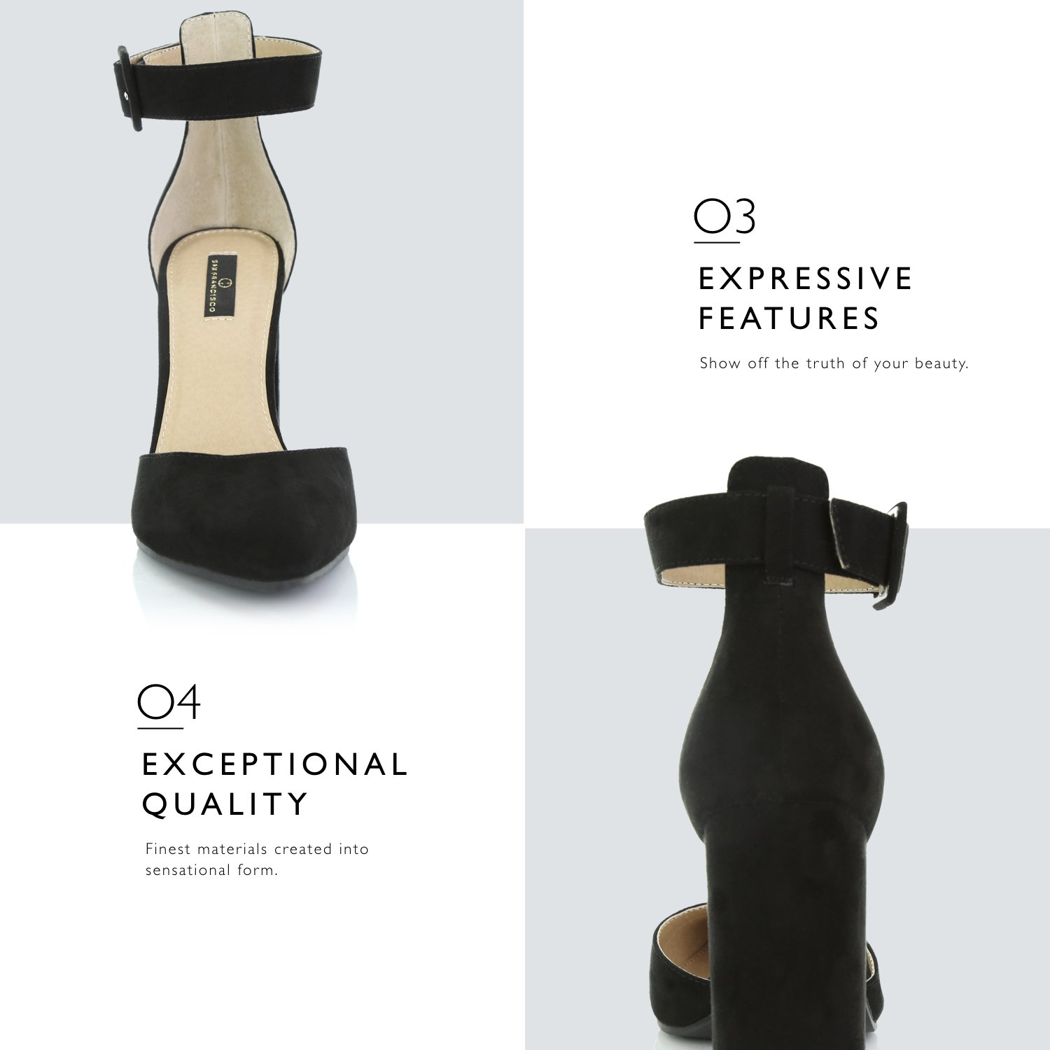 e43393ed39040c DailyShoes Womens Fashion Pointed Toe Chunky Ankle Strap Buckle High Heels  Shoes