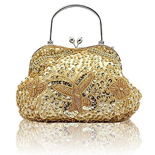 NBAG Estilo Clásico Nacional De Las Mujeres Cheongsam Bag Princesa Holding Bolsa De Noche Portátil Retro Con Cuentas Bolsa De Novia Paquete De Vestido De Dama De Honor,Silver Gold