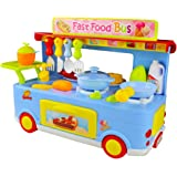 Jerryvon Kitchen Playset Pretend Play Food Truck Toy Role Play Game Set with Light and Sound for Kids Girls Boys over 3 Years, 29 PCS