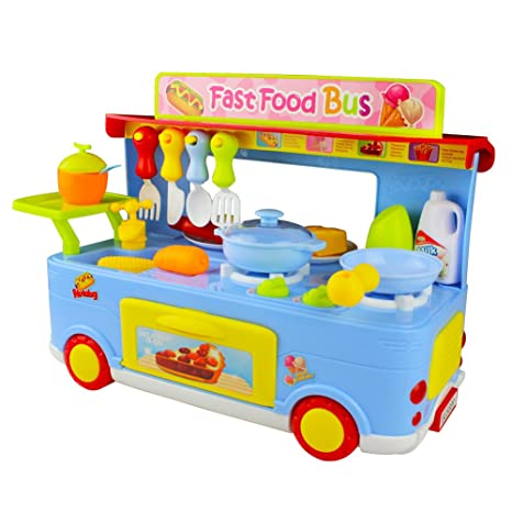 jerryvon kitchen playset pretend play food truck toy role play game set with light and sound - Kitchen Playset