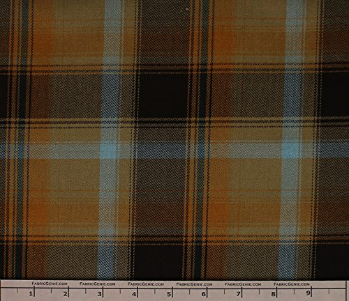 Taylor Poly Rayon Plaid Stretch Suiting Fabric, Stretch Suiting Fabric, Suiting Fabric-BROWN/OLIVE (Brown Suiting)
