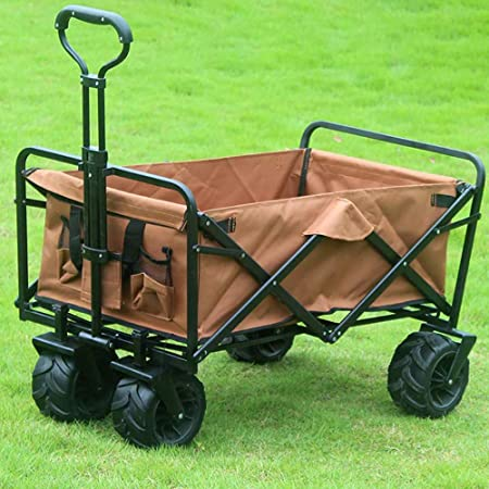 QXTT Plegable Carretillas De Carrito Plegable Mano Carro Folding Wagon Exterior Jardín Colgante Carro Playa Apto para Todo Terreno,Brown: Amazon.es: Hogar