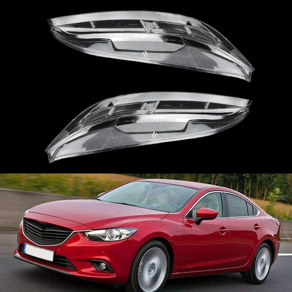 cciyu 2pc Left and Right Side Car Headlight Headlamp Lense Clear Lens Cover Replacement fit for 2006-2007 for Mazda 6 Mazdaspeed Sedan 4-Door