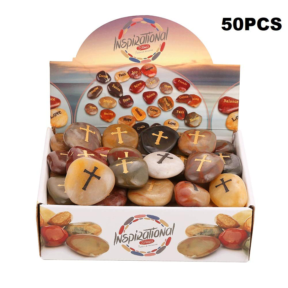 50PCS Cross RockImpact Cross Worry Stones Bulk Gifts You are amazing Engraved Inspirational Rocks Faith Stones Novelty Gifts Appreciation Gratitude Rocks Healing Stones Wholesale Cross Rocks, 2''-3''ea