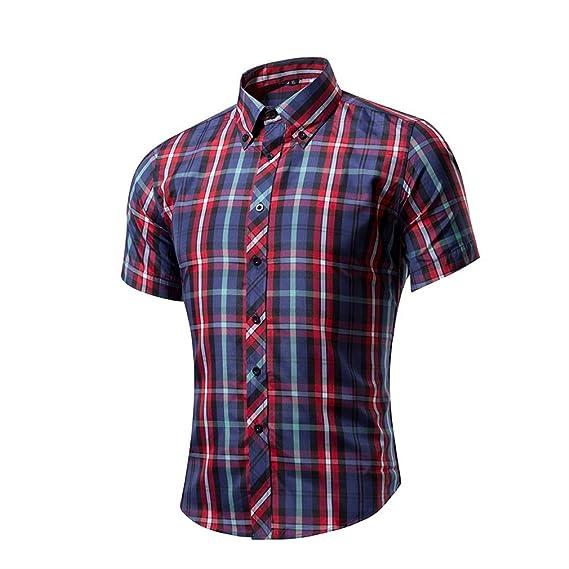 Honghu Casual Slim Fit Stretch Original Shirt Enrejado Camisa Business de Manga Larga Para Hombre XX-Large Rojo m2Jmi9LTe