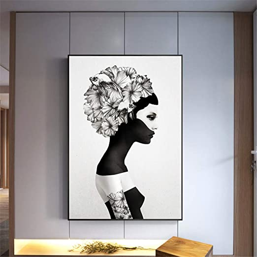 ZWBBO Pintura Decorativa Chica Cartel Pintura Negra ...