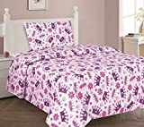GorgeousHome (@#2) CROWN PURPLE Double Ruffle Girls Design Comforter or Sheet Set or Window Curtain Panel or Valance Kids/Teens Complete Your Set (3PC TWIN SHEET SET)