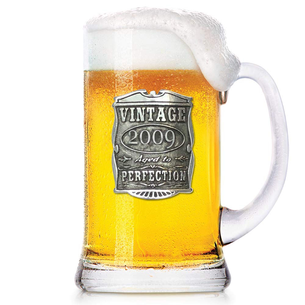English Pewter Company 1 Pint Vintage Years 2009 10th Anniversary Beer Mug Glass Tankard - Unique Gift Idea For Men [VIN035]