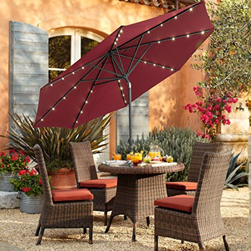 CASUN GARDEN 10ft Solar Powered LED Lighted Outdoor Market Aluminum Umbrella, Wine red For Sale