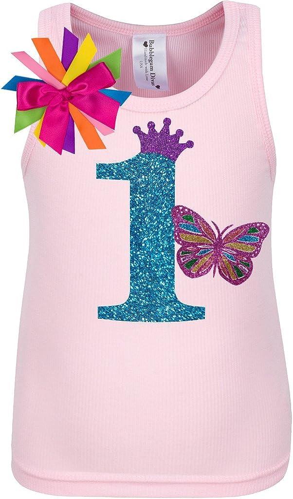 Bubblegum Divas Baby Girls 1st Birthday Rainbow Butterfly Shirt