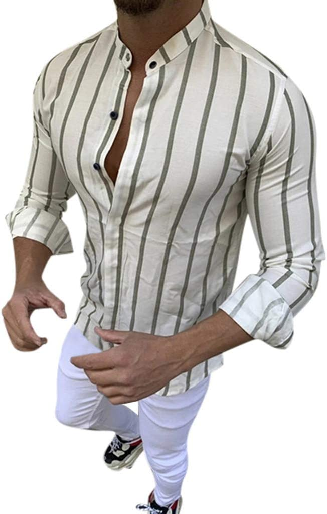 ღLILICATღ Camisa a Rayas para Hombre - Moda Manga Larga Collar Abatible Slim Fit Shirt Hombres Básica Casual Blusa con Botón Camisas Tops: Amazon.es: Jardín