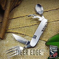 Pocket Elite Folding Knife 6 Multi Tool Hobo Camp - Fork Spoon Can-Opener Corkscrew + free eBook by ProTactical'US