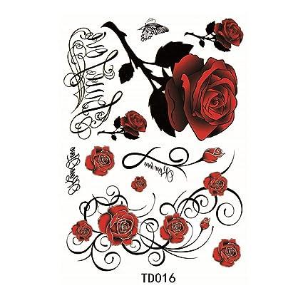 Eqlef Rosas Rojas Etiqueta Engomada Del Tatuaje Temporal Etiqueta