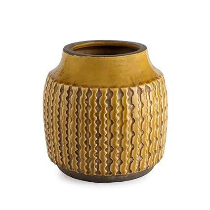 vente chaude pas cher économiser jusqu'à 80% large choix de designs Black Velvet Studio Vase décoratif en céramique Jaune - Modern Vintage Vase  pour Bureau Salle de réunion avec Gravure modèle Ethnique Alpes 17 * 17 *  ...