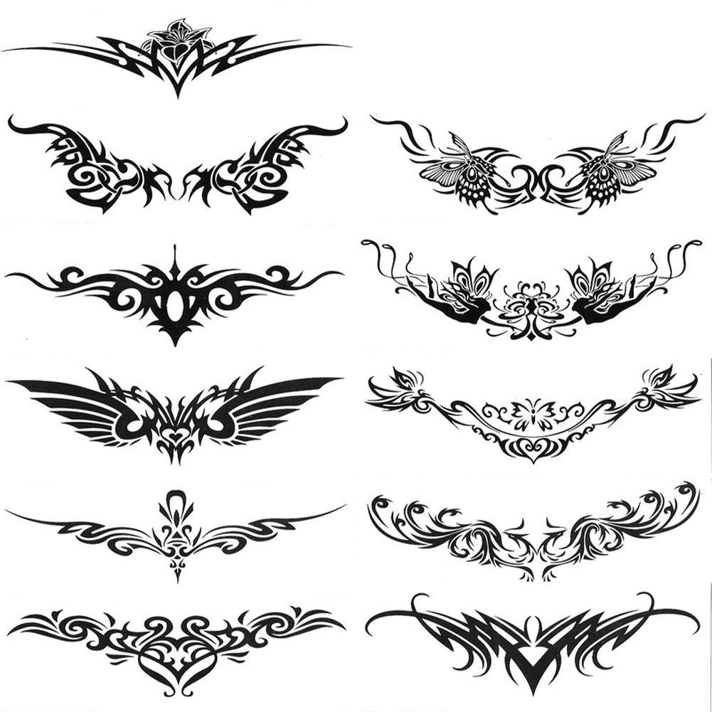 Yevison Waterproof Tattoo Body Stickers Men and Women Tattoo Waist and Arm Ring Totem Thorns Rattan Abdomen Strip Personalized Wing Stickers