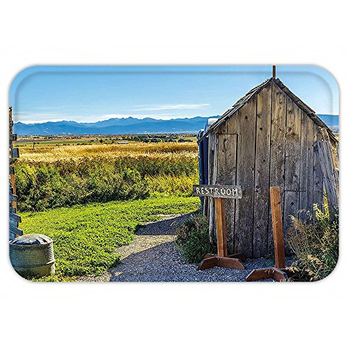 Outhouse Halloween Costumes (Kisscase Custom Door MatOuthouse Old Wooden Seem Cottage Outhouse in a Farm Village Image Photo Dark Grey Green and Sky Blue)