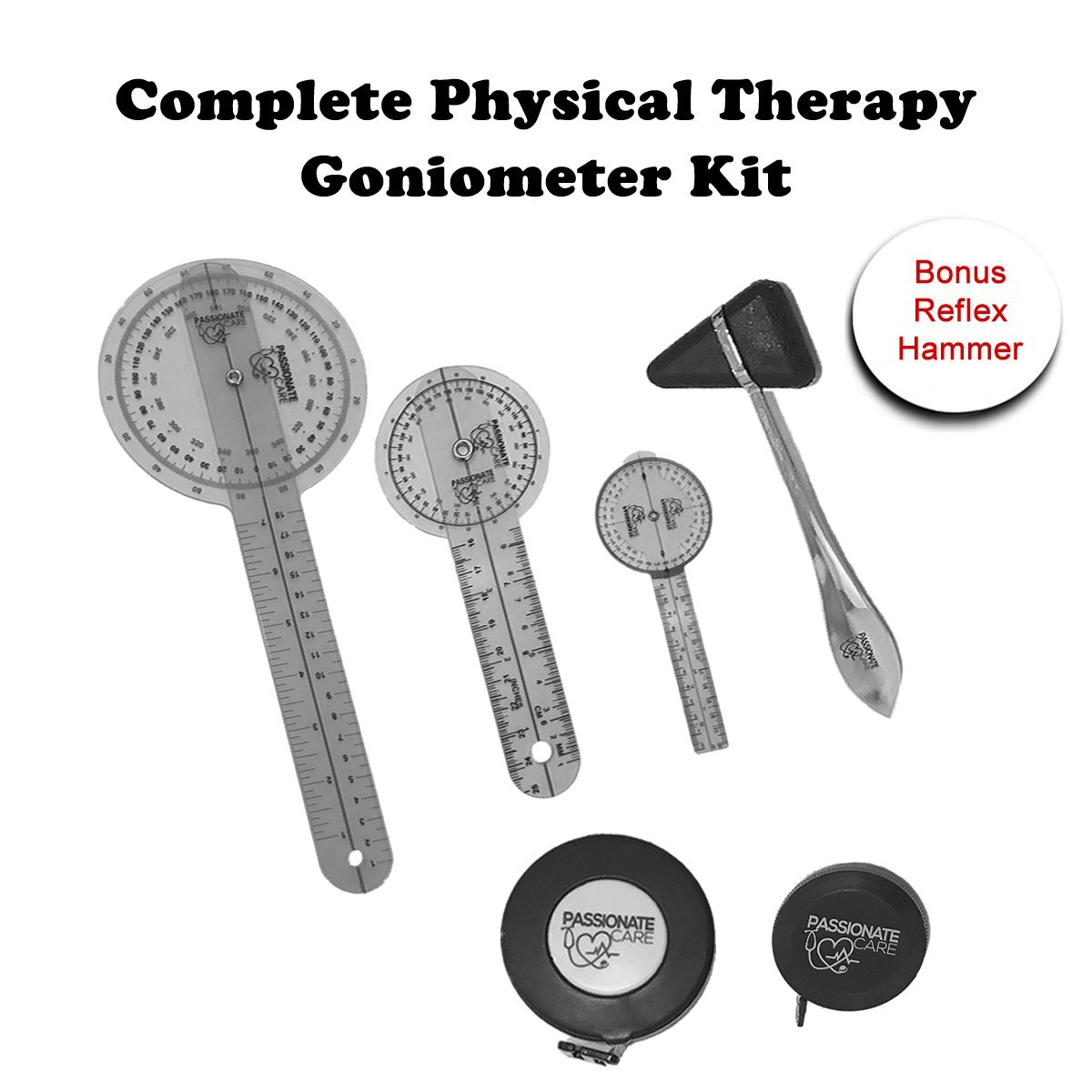 Goniometer Physical Therapy Complete Set W/Bonus Reflex Hammer Including 12,8,6 inches Goni's Plus Two Bonus Measuring Tapes. Occupational Therapy Tools. Ideal for Clinical or Home Rehab
