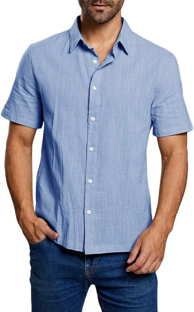 Enjoybuy Mens Short Sleeve Casual Button Down Shirt Summer Linen Beach  Shirts Spread Collar Regular Fit (Medium, 02-Blue) at Amazon Men's Clothing  store