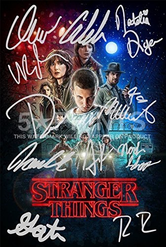Póster de Stranger Things con autógrafos preimpresos de los 11 actores (30,5 x 20,3 cm)