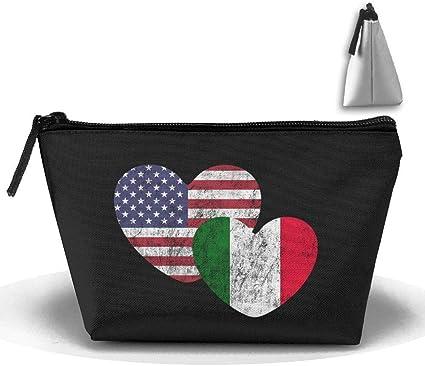 Bolso italiano del bolso del bolso del maquillaje del estuche de lápices de los efectos de escritorio de la pluma del amor de la bandera americana italiana: Amazon.es: Belleza