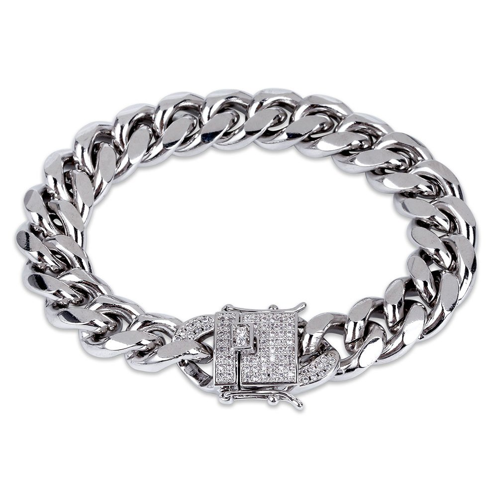 JINAO 12 mm Plaqué Or 18 K cubain Bracelet chaîne avec 1 CT Lab Diamant Fermoir Hip Hop Bracelet Argent (17,8 cm) 8 cm) Jin'ao Accessories Co. Ltd