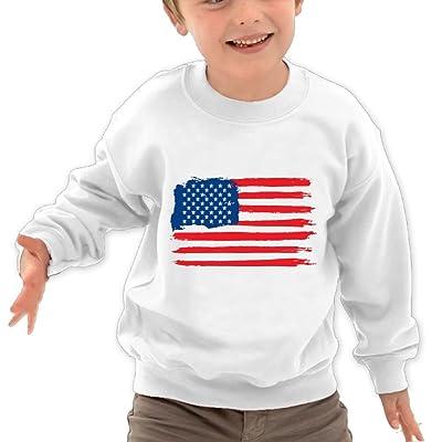 JasonMade Kids American Flag USA Brush Fashion Crewneck Long Sleeve T-Shirt