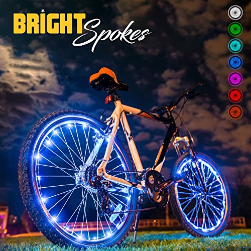 Best Bike Wheels - Bright Spokes Premium LED Bike Wheel Lights | 7 Colors in 1 | USB Rechargeable Battery | Strong Silicone Tube Cover | 18 Modes | Best Gift for all ages | 5, 6, 7, 8, 9 + year old boy gifts (1 Tire)