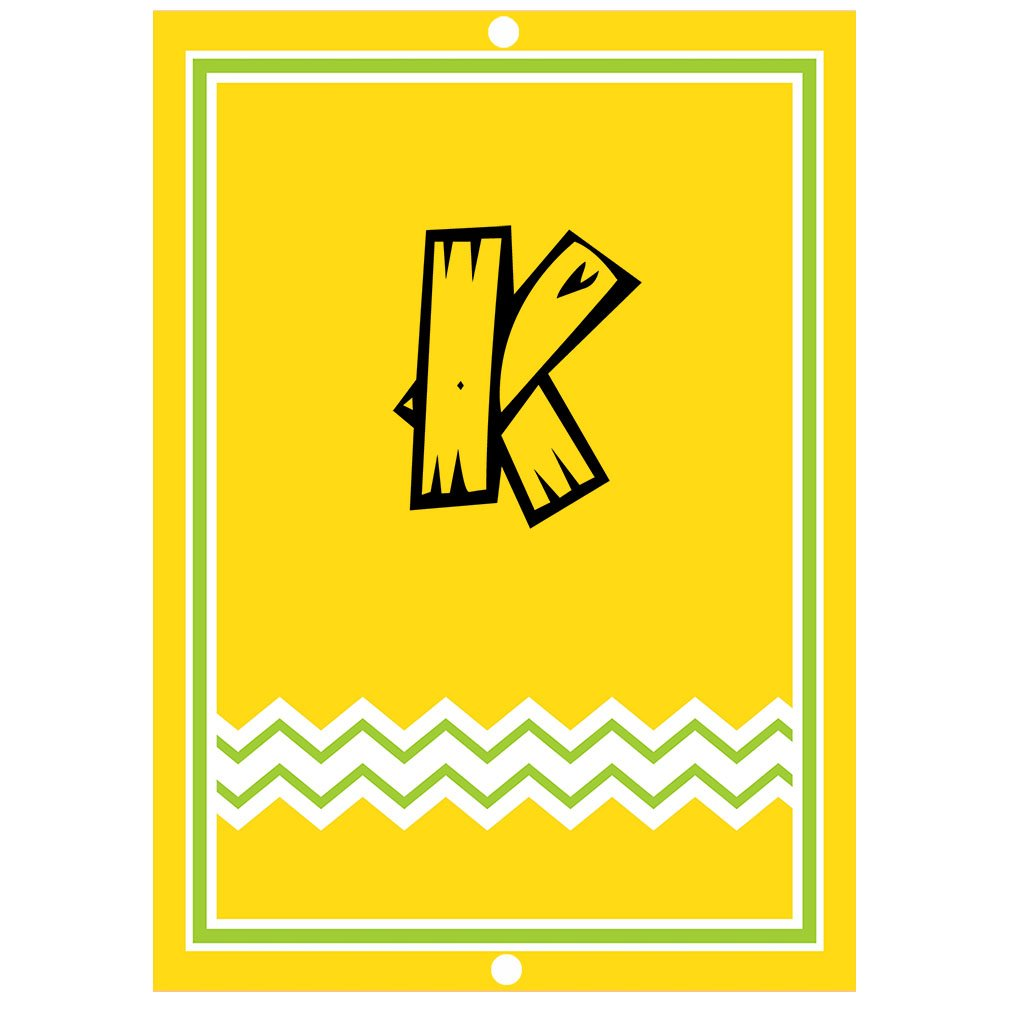 ''K '' Wood Initial Monogram Personalized Letter K Blue Room Nursery Décor METAL Sign Yellow