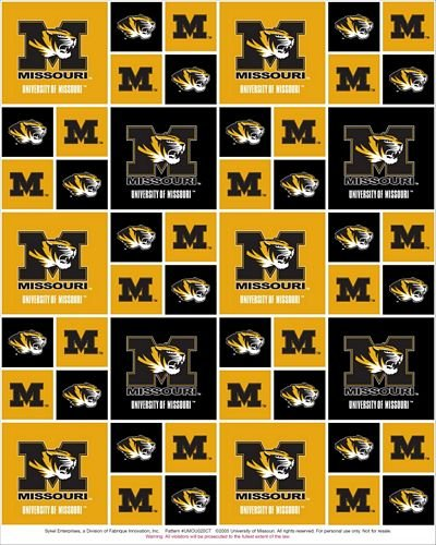 UNIVERSITY OF MISSOURI TIGERS COTTON FABRIC-100% COTTON UNIVERSITY OF MISSOURI TIGERS FABRIC SOLD BY THE YARD-UNIVERSITY OF MISSOURI TIGERS #20 SYKEL College Cotton Fabric