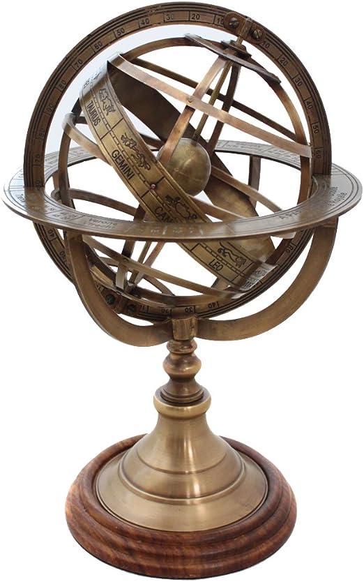 "8/"" Nautical Brass Engraved Armillary Sphere Globe on Wooden Base Decorative"